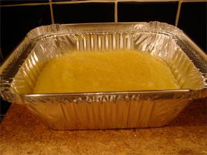 Pour into foil dish