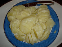 Potatoes sliced