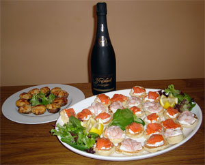 Serve with selection of canapes and chilled cava