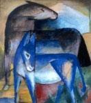 Horse & Donkey (Zwei Blaue Esel), 1912, Gouache, Franz Marc