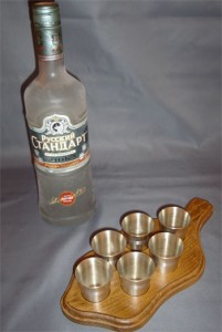 Russian Standard Vodka & Shot Glasses