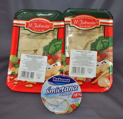 Pierogi and Smetana at Tesco